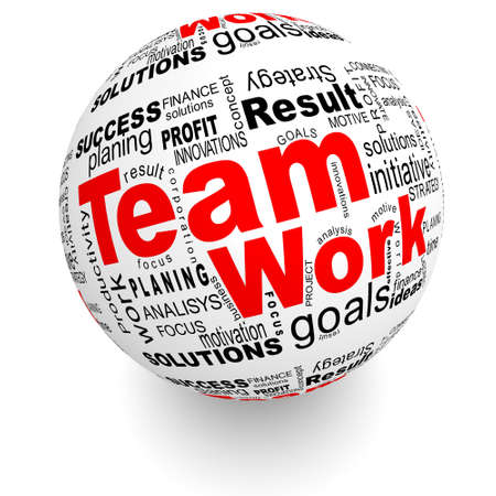 product development: Teamwork oriented words on the ball Stock Photo