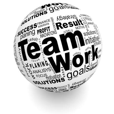 Teamwork oriented words on the ball Stock Photo