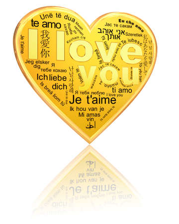 I Love You - golden words in different languages on the heart