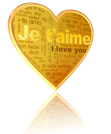 Je taime - golden words in different languages on the heart