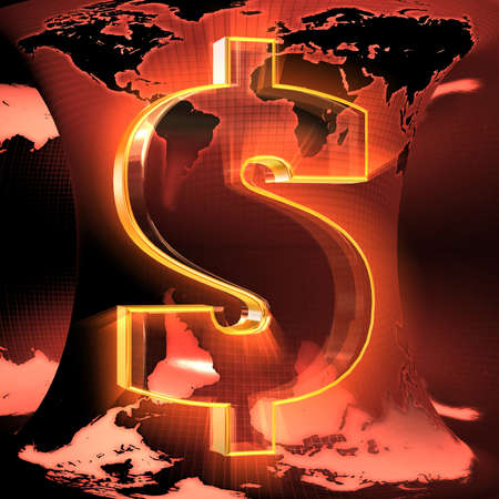 Dollar sign against the background of the earth map