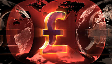 Pound sign against the background of the earthmap Stock Photo