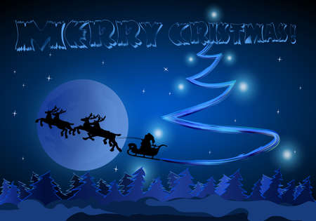 Santa rides on Moon Background