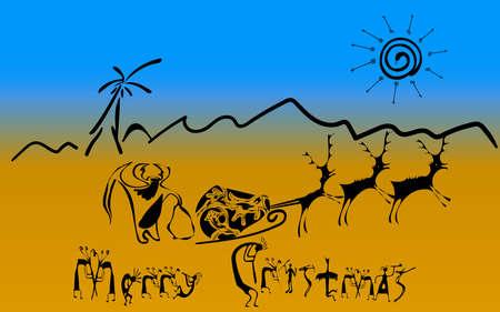 Cave Santa Claus on deer in the desert