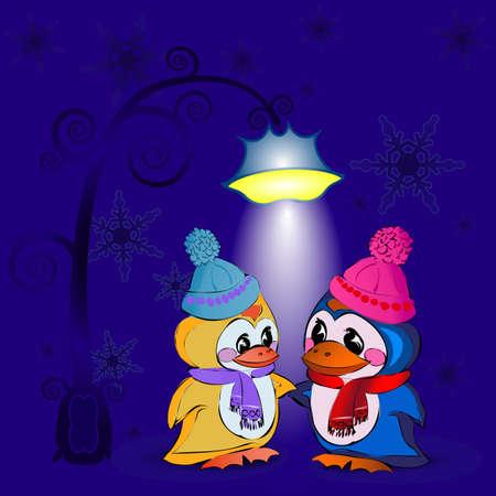 Penguins on new years Eve under a lantern Illustration
