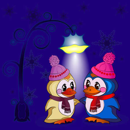 The penguins under the lantern on the background snowflakes
