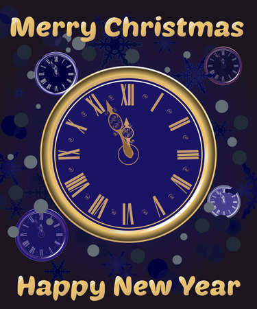 Christmas watches on Blue Snow Background