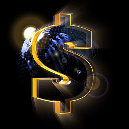 Dollar sign on blue Earth map background Stock Photo