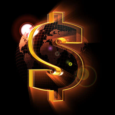 Dollar sign on red Earth map background