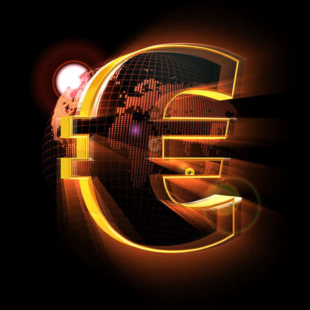 Euro sign on red Earth map background Stock Photo