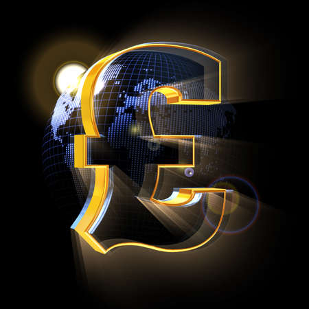 Pound sign on blue Earth map background
