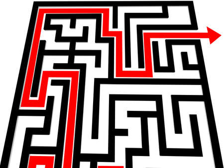 disorientated: Black Labyrinth with red arrow Stock Photo