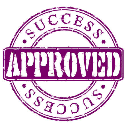 Round violet stamp Approved Success Stock Photo
