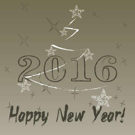 2016 year on radiant background Ilustracja
