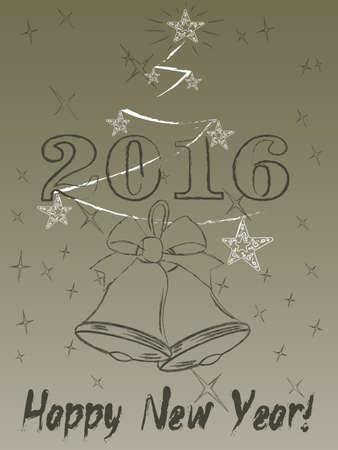 2016 year on radiant background Illustration