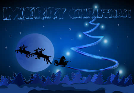 Santa rides on the background of the Moon