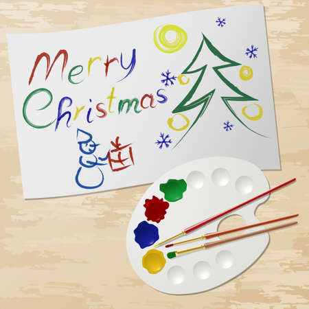 Congratulations with Christmas paint and palette