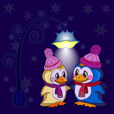 night background: Penguins Celebrate Holidays winter evening
