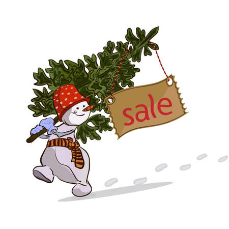 Walking Snowman with Christmas tree