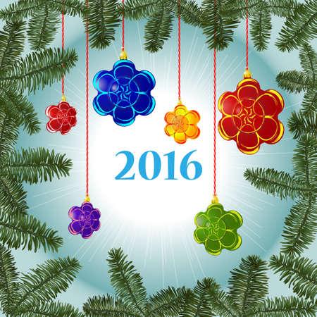 Christmas decorations on the background Ilustracja