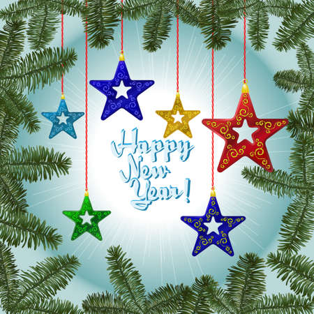 Christmas decorations on the background Illustration