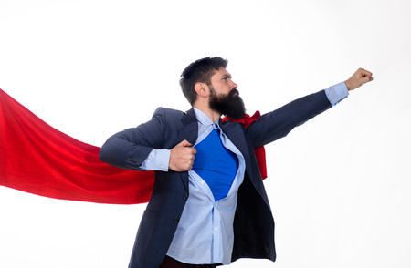 Business. Enthusiasm. Super businessmen. Business concept. Superhero in red cape showing blue shirt. Save the world. Economy. Career growth. Bearded businessmen.