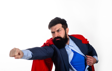 Serious bearded businessman. Safety hero. Business concept. Career growth. Success. Business growth. Super power.