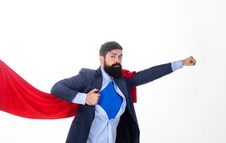 Business concept. Career growth. Success. Business growth. Super power. Bearded businessman.