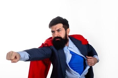 Superhero. Serious bearded businessman.Safety hero. Business concept. Career growth. Success. Business growth. Super power. Stock fotó