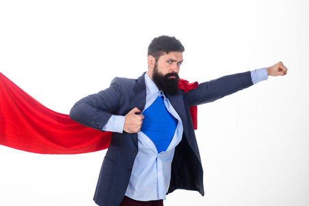 Superhero in red cape and blue shirt. Economy. Career growth. Bearded businessmen.