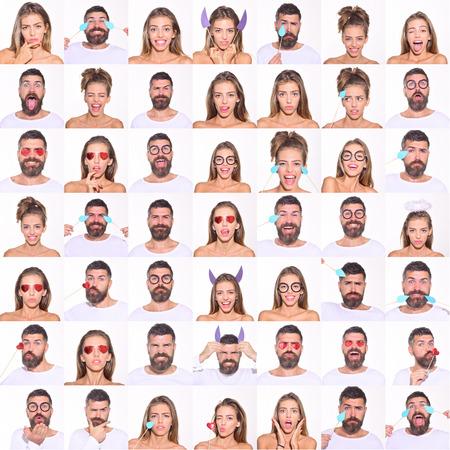 Collage van emoties. Verschillende emoties. Emotie set van mooi meisje en bebaarde man. Gevoel en emoties. Emoji-set. Set van menselijke emoties. Emoji. Geïsoleerd op een witte achtergrond. Gezichtsuitdrukking. Stockfoto