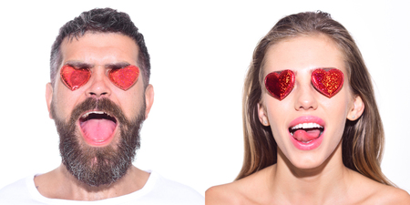 Emoji set of woman and bearded man with hearts on eyes. Collage of emotions. Different emotions. Feeling and emotions. Girl with hearts on eyes. Man with hearts on eyes. Face expression. Emoji set.