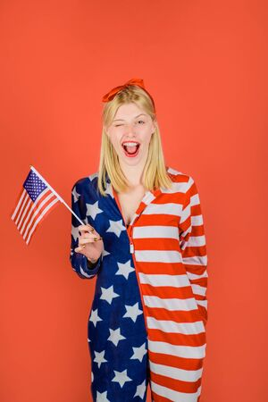 Make america great again. American flag. America. United states. USA. United states of America. US. Woman with little american flag. Independence Day. Stock Photo