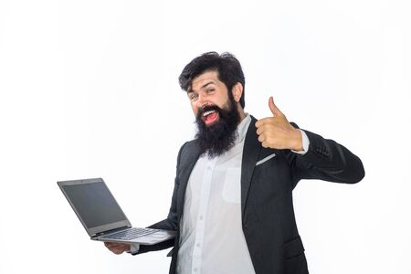 Man working on laptop. Businessman making new project. Happy businessman with pc shows thumb up. Startup business. Successful winner. Celebrating business success. Business theme. Working with joy.