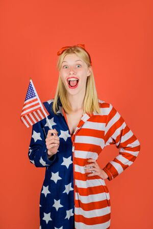 Independence Day in USA. Make america great again. American flag. America. United states. USA. United states of America. US. Excited woman with american flag. Independence Day. Stock Photo