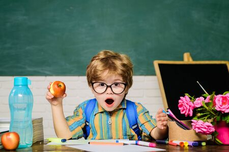Back to school. Surprised boy in glasses. Homework. Lessons. School subjects. Science. Education concept. Schoolboy. Nerd. Elementary school. School lunch. Stock Photo