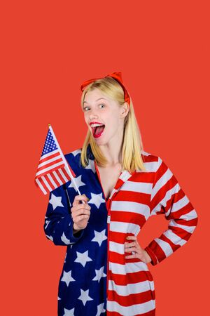Make america great again! Independence Day. American flag. America. United states. USA. United states of America. US. July 4th. Summer. Happy woman with American flag.