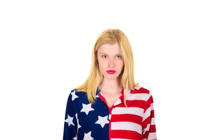Make america great again! Independence Day. American flag. America. United states. USA. United states of America. US. July 4th. Summer. Serious woman with American flag.