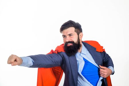 Superman flying. Business. Enthusiasm. Super businessmen. Superhero in red cape and blue shirt. Save the world. Economy. Career growth. Bearded businessmen.
