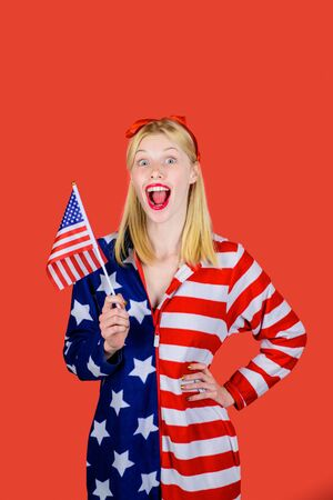 American flag. America. United states. USA. United states of America. US. July 4th. Summer. Excited woman with little American flag.