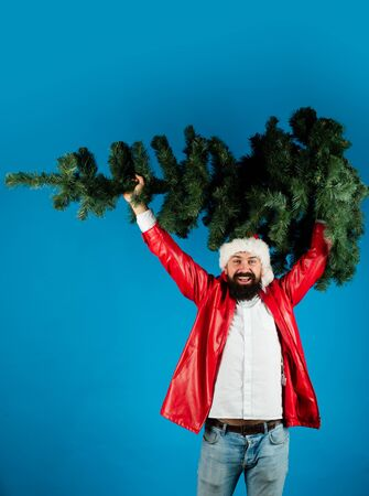 Man in santa claus hat holds green christmas tree up. Happy man in Santa hat with Christmas tree. Cheerful guy in Santa's cap with Christmas tree. Stockfoto - 128606515