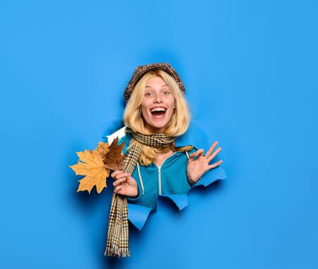 Autumn time. Beauty and fashion. Blonde girl showing ok sign. Season autumn holidays.
