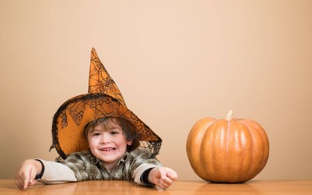 Halloween holidays concept. Happy Halloween. Little boy in witch hat with pumpkin. Funny child boy in witch hat for Halloween with pumpkin Jack. Toddler kid with jack-o-lantern. Trick or treating Banco de Imagens