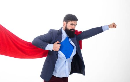 Bearded businessman. Superhero in red cape showing blue shirt. Career growth. Success.