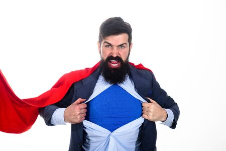 Bearded businessman screaming. Superhero in red cape showing blue shirt. Save the world.