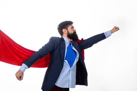 Business. Enthusiasm. Super businessmen.   Business concept. Superhero in red cape and blue shirt. Save the world. Economy. Career growth. Bearded businessmen.