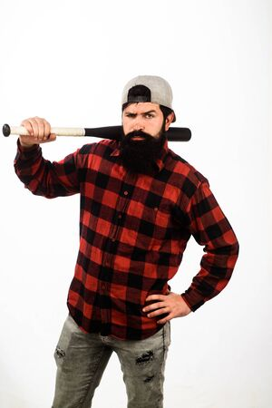 Bearded man with baseball bat. Professional baseball player. Man with baseball bat on shoulder. Strong and confident. Sport equipment. Sportsman with wooden bat. Sport lifestyle, hobby, interest
