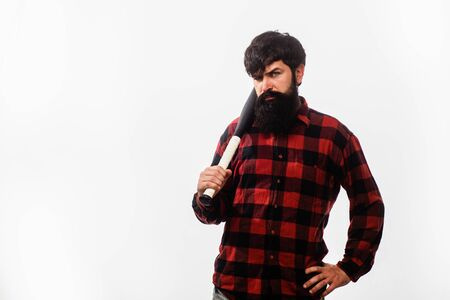 Sports and baseball training. Power and energy concept. Baseball player with baseball bat. Sport, training, health. Fashionable man wearing plaid shirt. Sport equipment. Bearded man with baseball bat