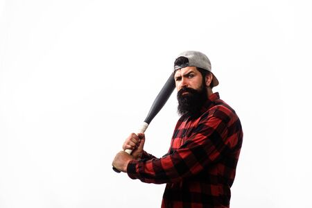 Sport equipment. Baseball player with baseball bat. Power and energy concept. Sport, training, health. Fashionable man wearing plaid shirt. Bearded man with baseball bat. Sports and baseball training 版權商用圖片