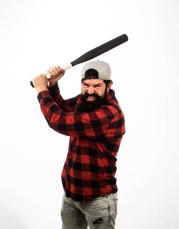 Sport, training, health. Sport equipment. Baseball player with baseball bat. Fashionable man wearing plaid shirt. Bearded man with baseball bat. Sports and baseball training. Power and energy concept 版權商用圖片